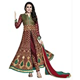 Fab Glory Ethnic Georgette Embroidery Maroon Semi-Stitched Anarkali Suit