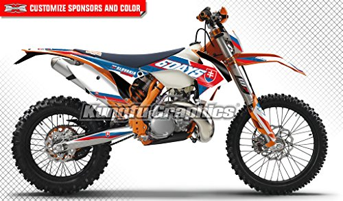 Ktm 250 Exc Race (Kungfu Graphics Six 6 Days Custom Decal Kit for 125 200 250 300 350 450 500 EXC EXC-F XCW XC-W XCF-W 2014 2015, Red Blue White)