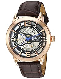 Invicta Men's 'Objet D Art' Automatic Stainless Steel and Leather Casual Watch, Color:Brown (Model: 22609)