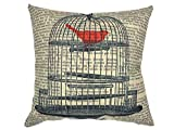 Decorative Pillow Cover - YOUR SMILE Cage Cotton Linen Square Decorative Throw Pillow Case Cushion Cover 18x18 Inch(44CM*44CM) (YS050609)