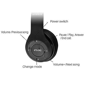 UKCOCO Auriculares inalámbricos plegables multifuncionales portátiles del bluetooth sobre los auriculares del oído con la ayuda