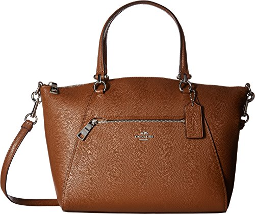 COACH Women's Pebbled Leather Prairie Satchel Sv/Saddle One Size