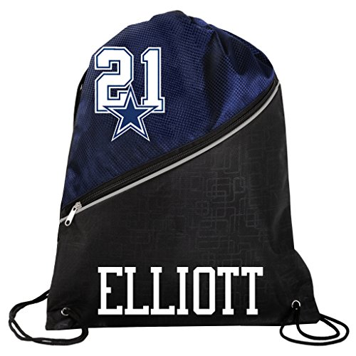 FOCO Dallas Cowboys Official High End Diagonal Zipper Drawstring Backpack Gym Bag - Ezekiel Elliott #21 by FOCO