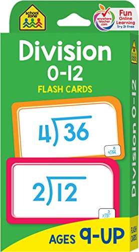 School Zone - Division 0-12 Flash Cards - Ages 9 and Up, Fourth Grade and Up, Division, Division Terms, Division Equations, Math