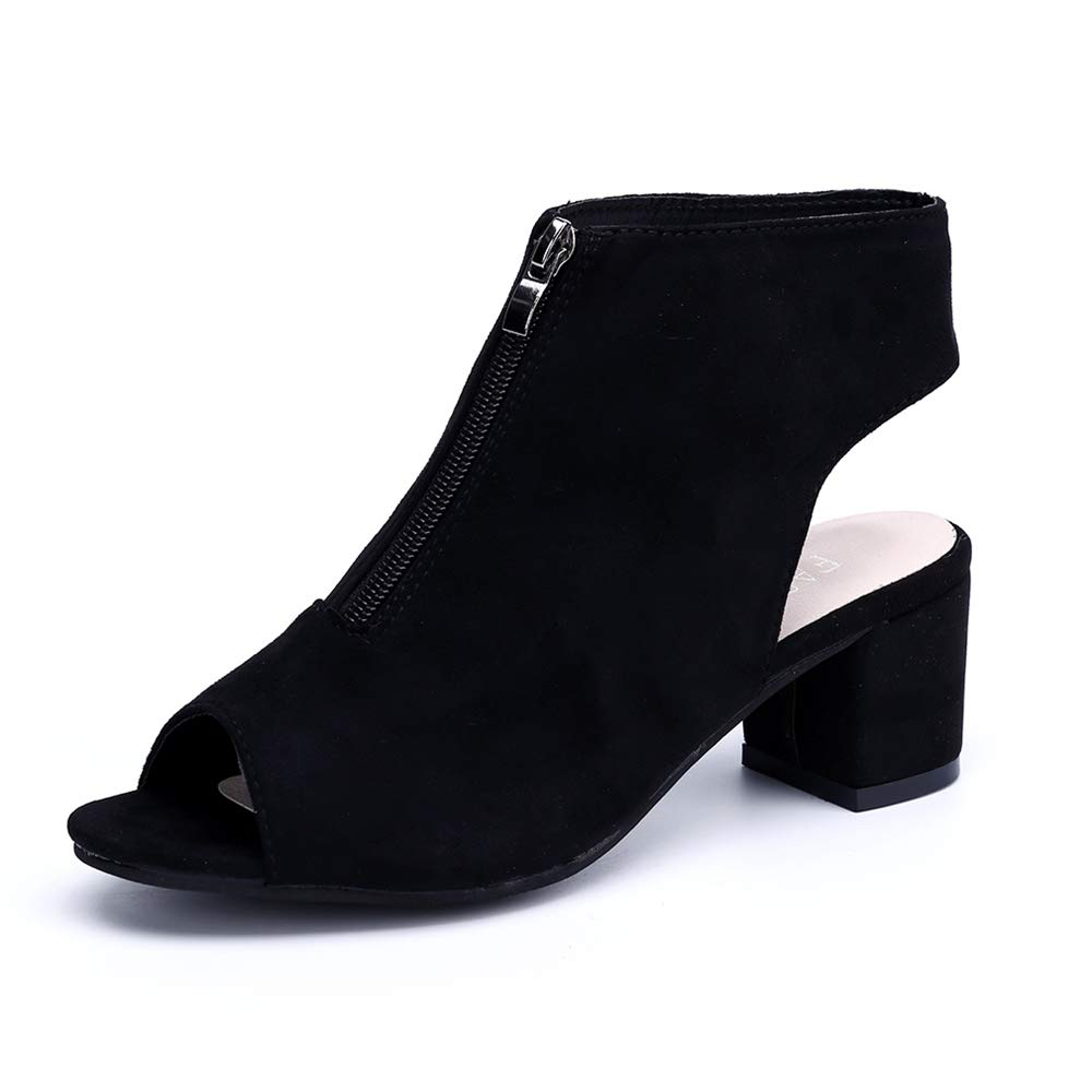 1cf8af9e440 Block Heel Shoes Womens Peep Toe Sandals Slingback Zip Suede Platform High  Heel 6cm Spring Summer Ladies Dress Court Shoes Red Black Grey 2.5-7 UK