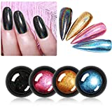 Chrome Nail Powder - Holographic Effect Colorful Glitter Nail Powder Manicure Pigment Kit - 4colors