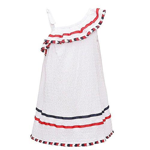 (Bonnie Jean Little Girls' Americana Dress, White with Fringe, 5)