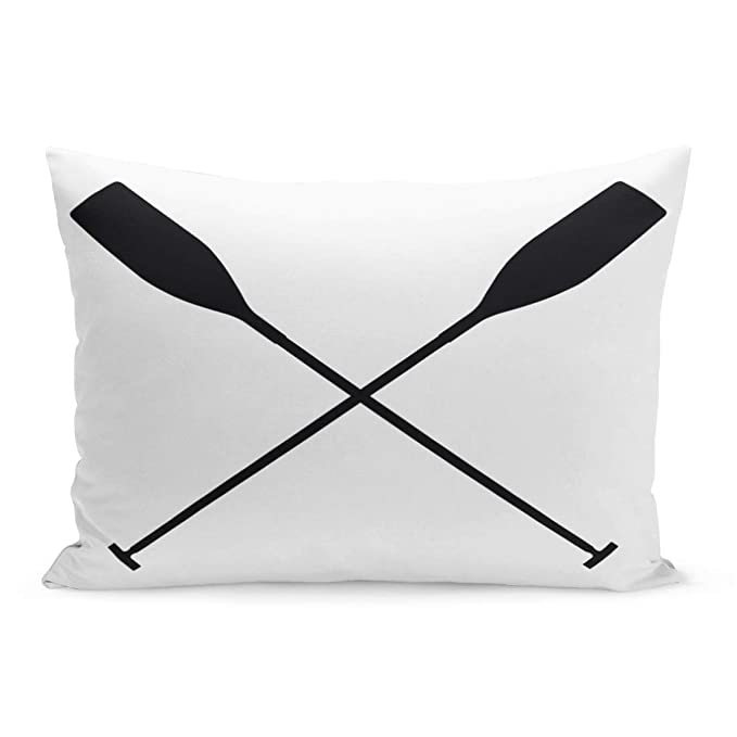 Semtomn Throw Pillow Covers Oar Real Sports Paddles for Canoeing Black Silhouette Criss Cross Crew Row Pillow Case Cushion Cover Lumbar Pillowcase Decoration for Couch Sofa Bedding Car 20 x 36 inchs
