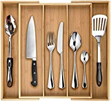 Dynamic Gear Bamboo Expandable Drawer Organizer, Premium Cutlery and Utensil Tray, Perfect for The Kitchen, Bathroom,...