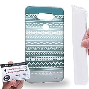 Case88 [LG G5] Gel TPU Carcasa/Funda & Tarjeta de garantía - Art Aztec Design Trend Mix Cyan Mix Art0778