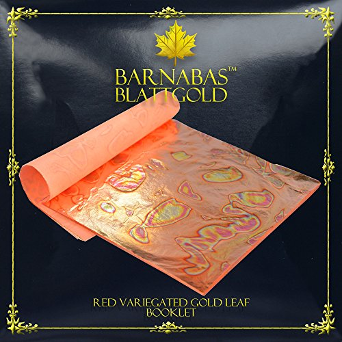 Variegated Gold Leaf Sheets - by Barnabas Blattgold - Color - Red - 25 Sheets - 5.5 inches Booklet ()