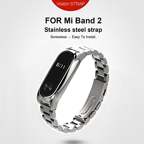 GUYO miband 2 strap Replacement Metal Strap Wristband Accessories for Xiaomi Mi Band 2 Stainless Steet Replacement Smart WatchBand with Magnetic Suction Shell(Original Fashion Design) Silver Plus