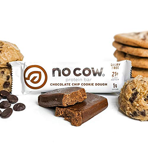 No Cow Protein Bars, Chocolate Chip Cookie Dough, 21g Plant Based Vegan Protein, Keto Friendly, Low Sugar, Low Carb, Low Calorie, Gluten Free, Naturally Sweetened, Dairy Free, Non GMO, Kosher, 12 Pack