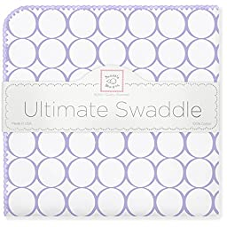 SwaddleDesigns Ultimate Swaddle Blanket, Made in USA, Mod Circles, Lavender