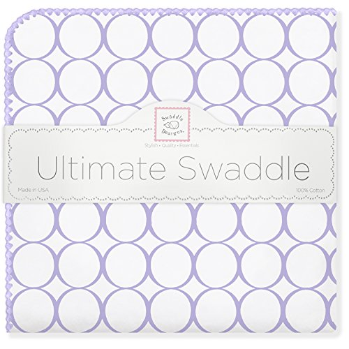 SwaddleDesigns Ultimate Swaddle Blanket, Mod Circles, Lavender (Lavender Circles)
