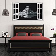 Fangeplus(TM) DIY Removable 3D Window View Star War Spacecraft Art Mural Vinyl Waterproof Wall Stickers Kids Room Decor Nursery Living Room Decal Sticker Wallpaper38.1''x22.4''