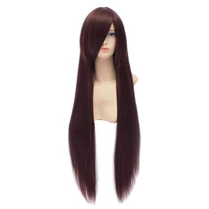 Baisheng Universal largo recto marrón rojizo Cosplay pelucas Anime personaje de pelucas de diseno fibra sintética