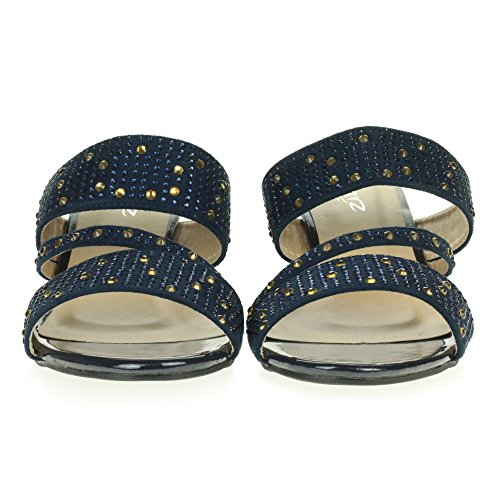 Diamante Size LONDON AARZ Heel Low Evening Casual On Shoes Wedge Blue Party Ladies Womens Navy Slip Sandals Crystal wIdnvrqZd