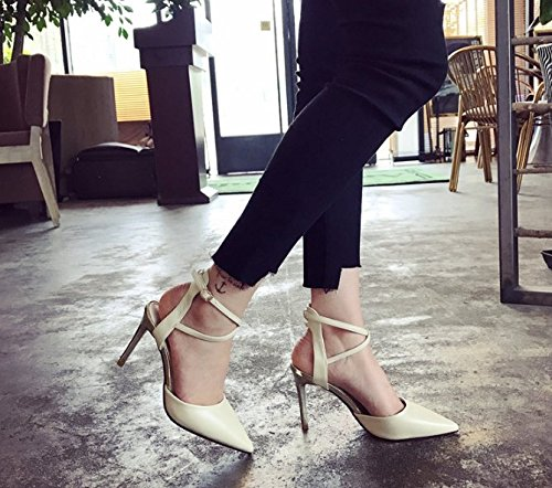 Ajunr Moda/elegante/Transpirable/Sandalias La multa Con poca boca En la punta La Solo los zapatos Los zapatos Ocio Retro 7cm talones albaricoque ,36 37