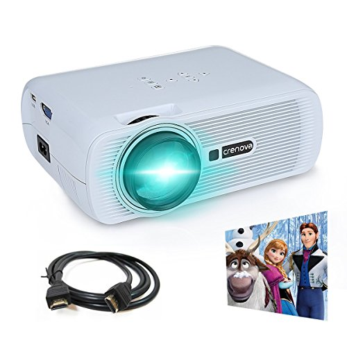 Crenova XPE460 LED Video Projector Home Projector with Free HDMI Support 1080P for Home Cinema Theater TV Laptop Game SD iPad iPhone Android Smartphone-White