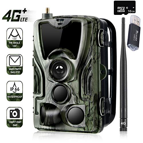 Suntekcam 4G Cellular Trail Game Camera, 16MP 1080P Wildlife Hunting Camera, Micro SD Card and Card Reader Included, Night Vision IP65 Waterproof Infrared Game Cam,0.3s Trigger Time Scouting Camera