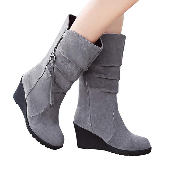 TianWlio Stiefel Frauen Herbst Winter Schuhe Stiefeletten Boots Runde Zehe Freizeit  Schuhe Reißverschluss Wedges Stiefel Warme Schuhe Flache Schuhe Schwarz ... 0ec73fd12a