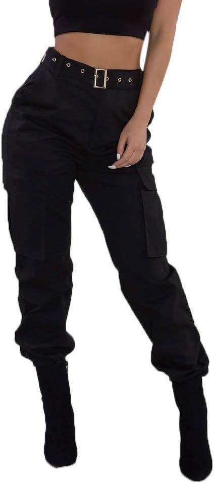 Mounter Pantalones Cargo Para Mujer Casual Ajustados Pantalones De Haren Pantalones De Deporte Cintura Elastica Militar Pantalones De Combate Solidos Pantalones De Bolsillo Negro Xx Large Amazon Es Hogar