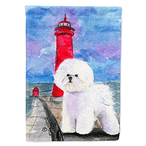 - Caroline's Treasures SS8891GF Lighthouse with Bichon Frise Flag, Small, Multicolor