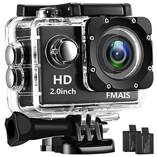 Digital Action Camera (FMAIS Action Camera 2.0 Inch LCD Full HD 1080P Camcorder Underwater 30m/98ft Waterproof Sports Camera with 2 Rechargeable Batteries and Mounting Accessories Kit (Black))