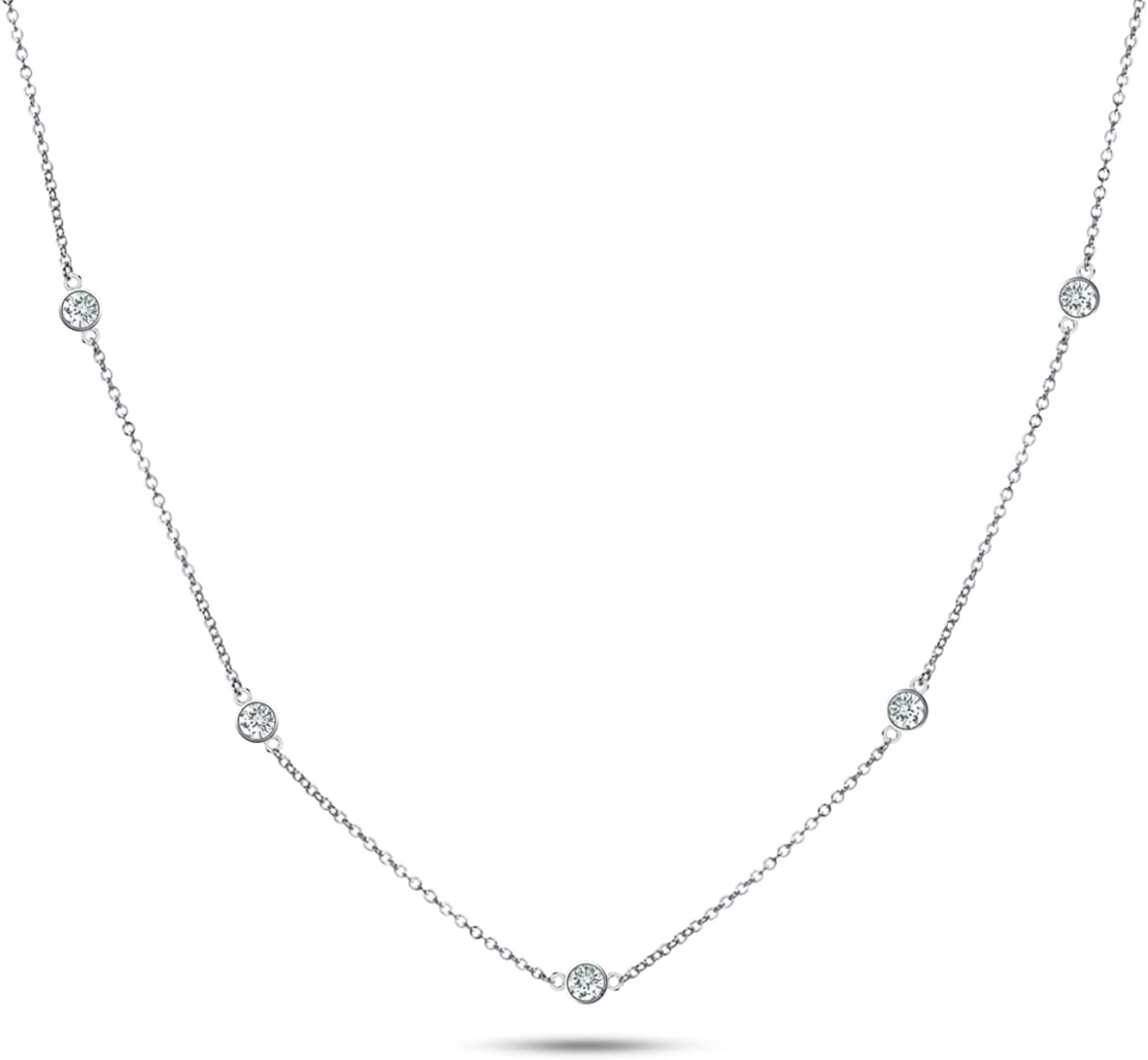 Metal Factory 925 Sterling Silver CZ by The Yard Round Cut Cubic Zirconia Chain Necklace