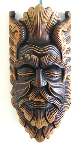 African Mask Wall Hanging Decor Wise Man Good Luck Protection Mask Against Evil, Heavy Wood XL- 20