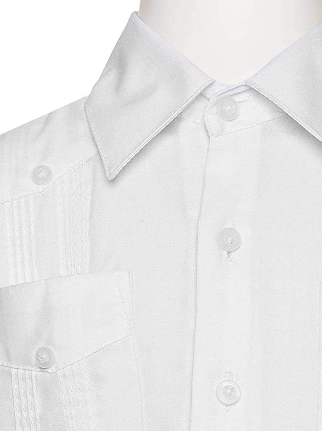 ab78021529 Gentlemens Collection Kids Long Sleeve Linen Look Guayabera Shirt White X- Small  Amazon.ca  Clothing   Accessories