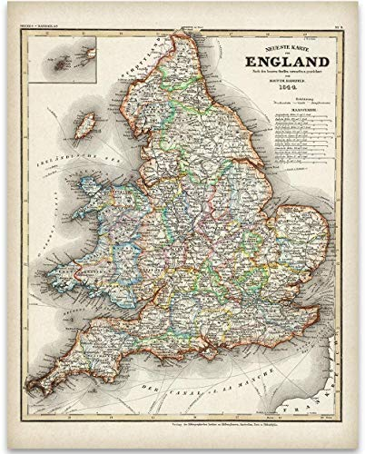 1844 England Map Art Print - 11x14 Unframed Art Print - Great Vintage Home Decor Under $15 ()
