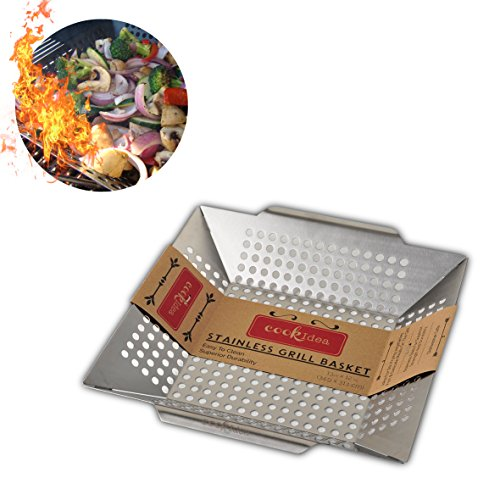Cookidea Stainless-Steel Vegetable Grill Basket & Wok Topper, Fits All Grills(Weber, Charbroil, Gas and Charcoal Grills) approved by FDA and EU, 13