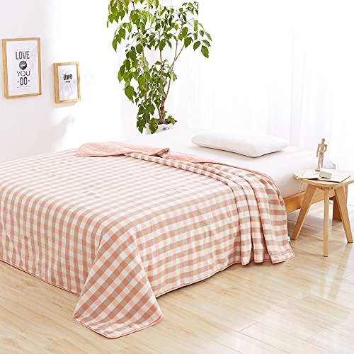 MKXI Home Decoration Cotton Grid Pattern Comforter for Summer Air-Conditioning Quilt Pink