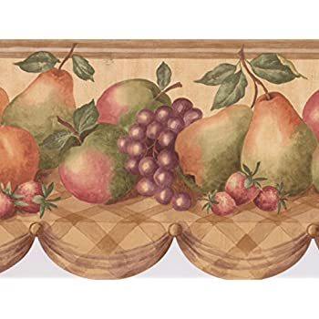 Fruit Basket Apple Grape Peach Wallpaper Border For Kitchen Bathroom Living  Room, Roll 15u0027
