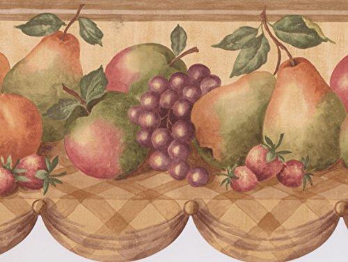 Fruit Basket Apple Grape Peach Wallpaper Border for Kitchen Bathroom Living Room, Roll 15' x 9''