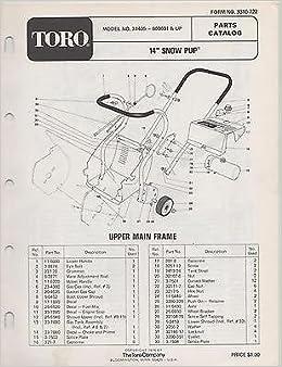 Snow King Snowblower Parts Diagram | 1975 Toro Snow Pup Snow Blower Parts Manual Manufacturer Amazon