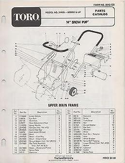 1975 toro snow pup snow blower parts manual manufacturer amazon rh amazon com toro 824 snowblower parts manual toro 521 snowblower parts manual