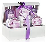 Spa Gift Basket with Sensual Lavender Fragrance - Best Wedding, Birthday, Anniversary or Graduation Gift for Women - Bath Gift Set Includes Shower Gel, Bubble Bath, Bath Salts, Bath Bombs and More!
