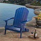 Milan Outdoor Folding Navy Blue Wood Adirondack Chair