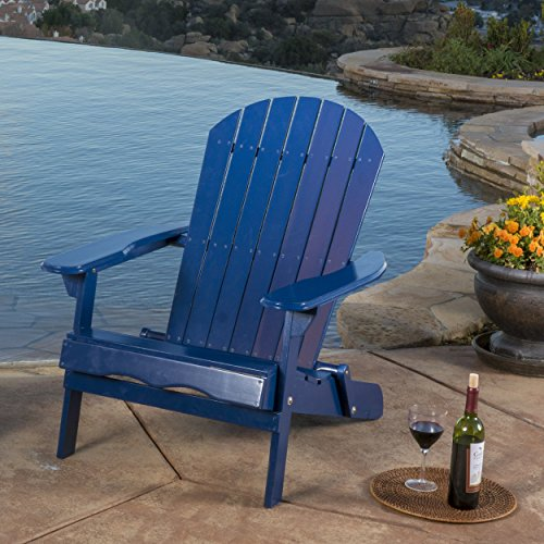 GDF Studio Halley Outdoor Reclining Wood Adirondack Chair with Footrest (1, Navy Blue)
