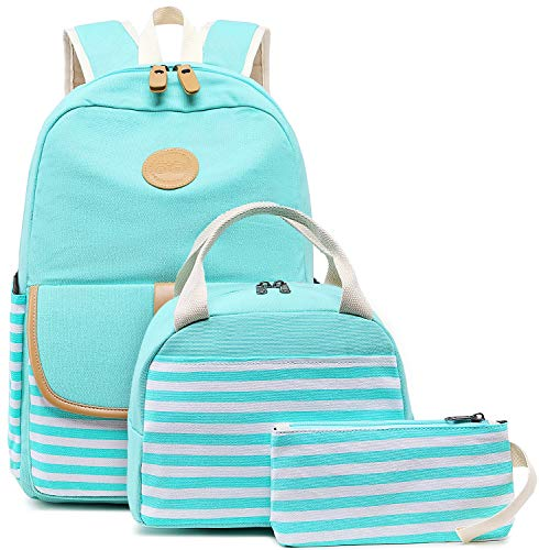 BLUBOON Canvas Bookbags School Backpack Laptop Schoolbag for Teens Girls