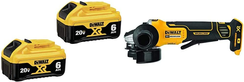 DEWALT (DCB206-2) 20V MAX Battery, Premium 6.0Ah Double Pack & DCG413B 20V MAX Brushless Cut Off Tool/Grinder (Tool Only)