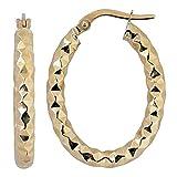 14k Yellow Gold Diamond-cut Bold Oval Hoop Earrings