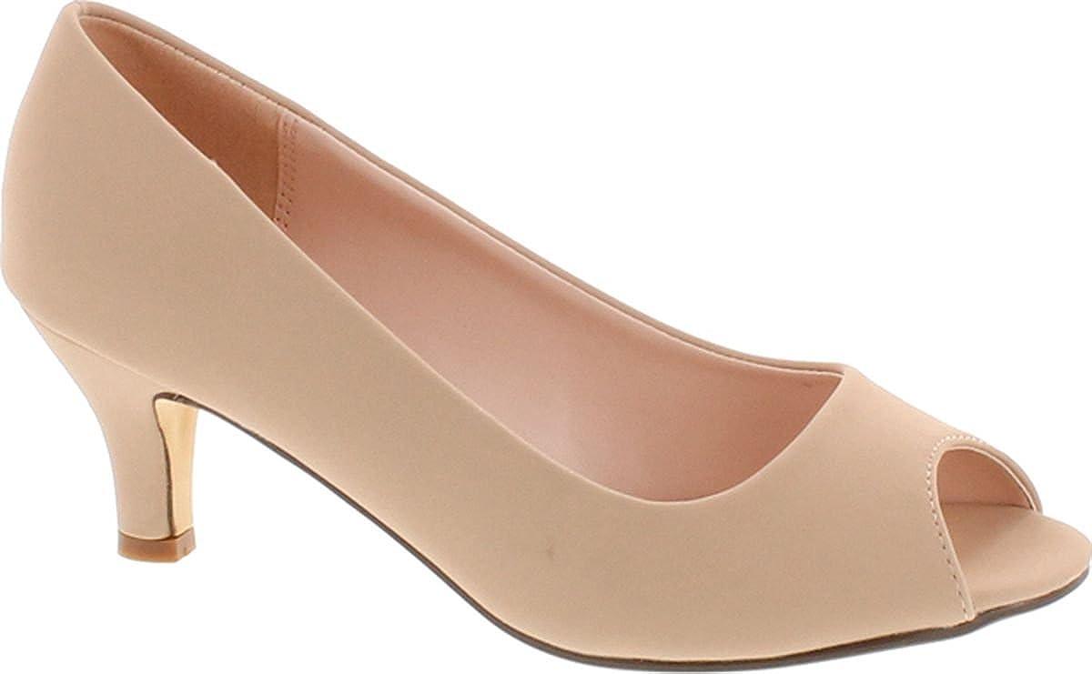 Nude Nubuck Bonnibel Wonda-2 Womens Peep Toe Low Heel Glitter Dress Pumps