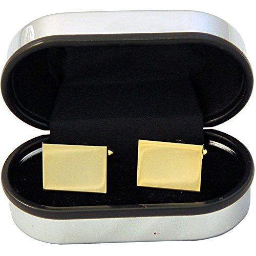 Plated Polished Rectangle Cufflinks (Classic Plain Gilt Plated Cufflinks In A Rectangle Design)