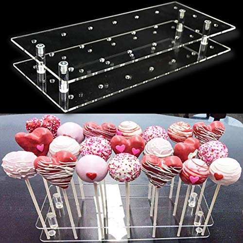 Goabroa Cake Pop Display Stand, 21 Hole Clear Acrylic Lollipop Holder Weddings Baby Showers Birthday Parties Anniversaries Halloween Candy Decorative (21 Hole) -
