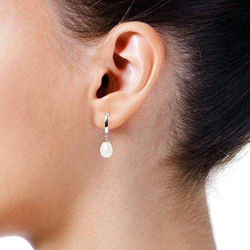 Pearls & Colors - Boucles d'oreilles pendantes - Or blanc 9 cts - Perle d'eau douce - AM-9BOC 136 P6B-WH