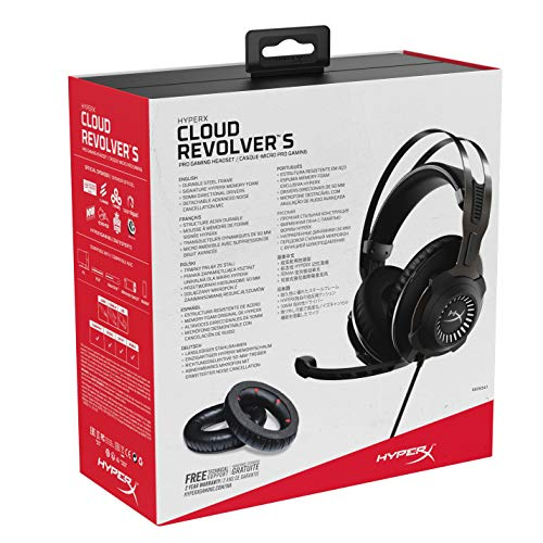 HyperX Cloud Revolver S - Gaming Headset with Dolby 7.1 Surround Sound - Steel Frame - Signature Memory Foam - Premium Leatherette - Detachable Noise-Cancellation Microphone